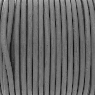 Rundriemen, Lederschnur, 100cm, 3mm, STEINGRAU