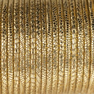 Nappaleder rund gesäumt, 100cm, 4mm, GOLD Echsenprägung