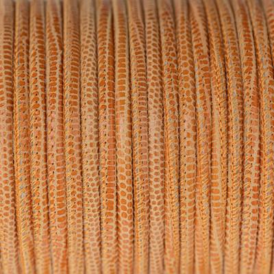 Nappaleder rund gesäumt, 100cm, 2,5mm, APRICOT Echsenprägung