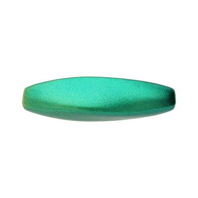 Perle, innen 2mm, 37x10mm oval, Metallic grün, Acryl