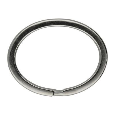 Schlüsselring, Spiralring, oval, 1 Stück, 37x29x3mm, Metall, silberfarben