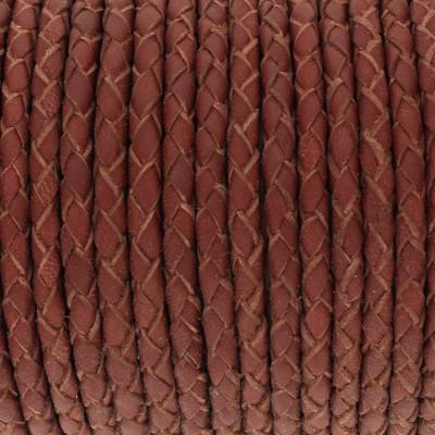 Nappaleder rund geflochten - extra weich, 100cm, 4mm, WEINROT