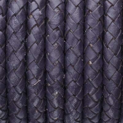 Lederband rund geflochten, 100cm, 6mm, PURPLE