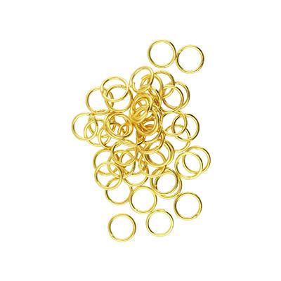 Bindering, rund, 10 Stück, 6mm, innen 4,6mm, Metall, goldfarben