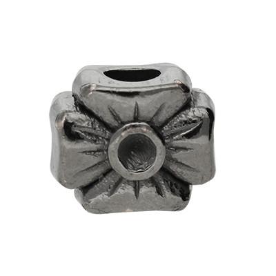 Großlochperle, innen 4,5mm, 12x10x8mm, schwarz, Metall