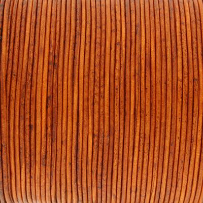 Rundriemen, Lederschnur, 100cm, 1mm, BURNT ORANGE VINTAGE
