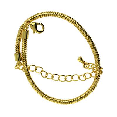 Armband für Charms mit Karabinerverschluss, Ø 3mm, Gesamtlänge ca. 18cm, Metall, goldfarben