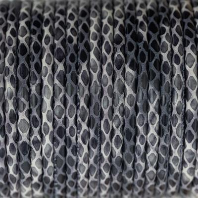 Nappaleder rund gesäumt, 100cm, 4mm, LILA-GRAU Schlangenprägung