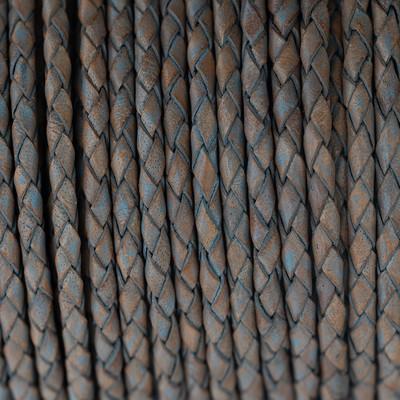 Lederband rund geflochten, 100cm, 5mm, GRAU meliert
