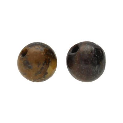 Perle (2 Stück), innen 0,8mm, Ø 4mm, Tigerauge (Halbedelstein), dunkelbraun