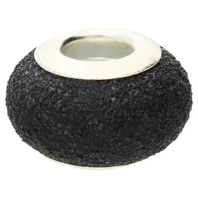 Großlochperle in Sternenstauboptik, innen 4,5mm, 14x9mm, schwarz, Metall