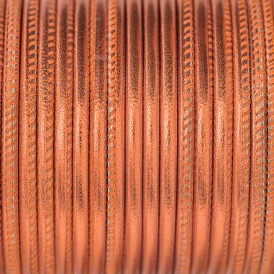 Premium Nappaleder rund gesäumt, 100cm, 2.5mm, METALLIC KUPFER