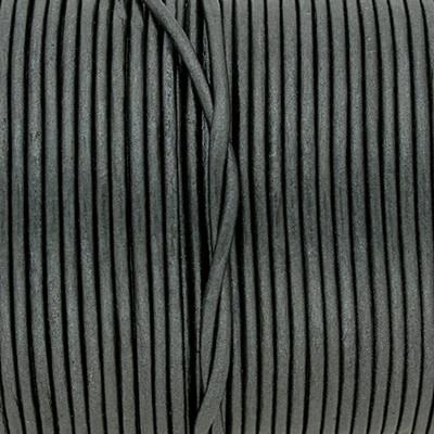 Rundriemen, Lederschnur, 100cm, 2mm, METALLIC ANTHRAZIT