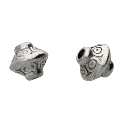 Perle (2 Stück), innen 1mm, 7x6,5mm, antik-silberfarben, Metall