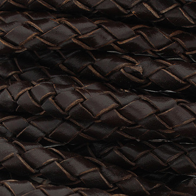 Lederband rund geflochten, 100cm, 8mm, ANTIK DUNKELBRAUN
