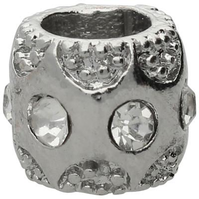 Großlochperle mit Straßsteinen, innen 5mm, 10,5x8mm, silberfarben, Metall