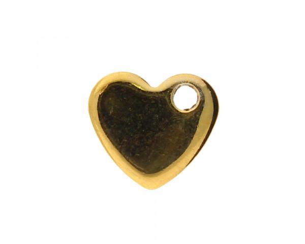 Anhänger, Herz, 10x9mm, goldfarben, Edelstahl