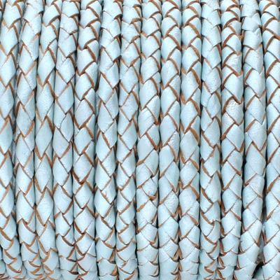 Lederband rund geflochten, 100cm, 3mm, METALLIC PASTELLBLAU mit Naturkanten