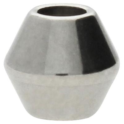 Perle, innen 2,5mm, 6x6mm, Edelstahl, silberfarben