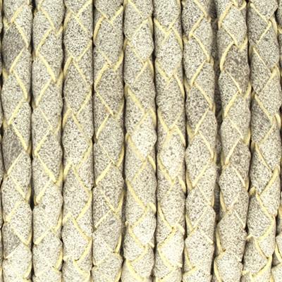 Lederband rund geflochten, 100cm, 4mm, STEINGRAU meliert