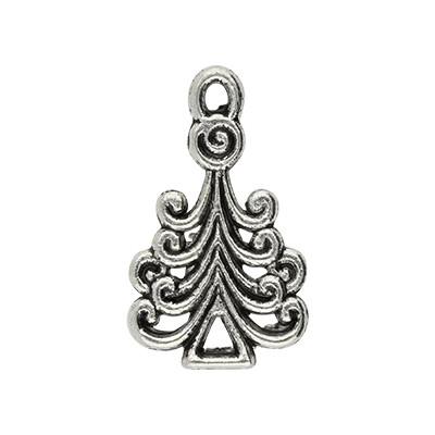 Anhänger, Weihnachtsbaum, 23x13mm, silberfarben, Metall