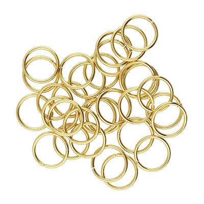 Bindering, rund, 10 Stück, 8x0,8mm, Edelstahl, goldfarben