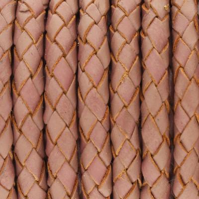 Lederband rund geflochten, 100cm, 5mm, TAUPE