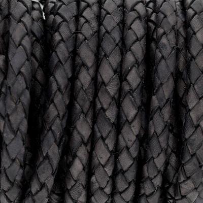 Lederband rund geflochten, 100cm, 6mm, VINTAGE SCHWARZGRAU
