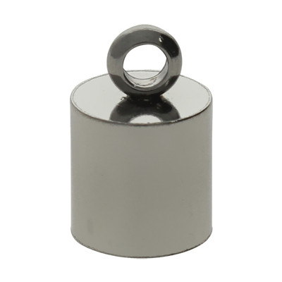 Endkappe mit Öse, 10x6,5mm, Loch-Ø 6,0mm, Edelstahl, stahlfarben