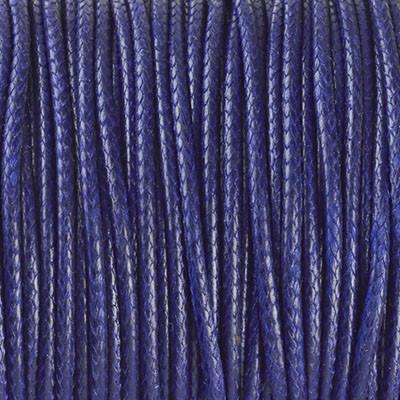 Gewachstes Schmuckband aus Baumwolle, 100cm, 2mm breit, dunkelblau