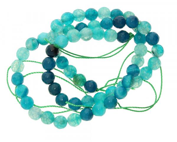 Edelsteinstrang (ca.60 Perlen), Achat, faciert, innen ca.1mm, Ø 6mm, MEERESGRÜN