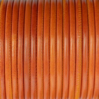 Nappaleder rund gesäumt, 100cm, 4mm, PAPAYA