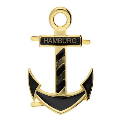 """Anhänger XL, Anker """"HAMBURG"""", 58x36mm, Gold"""