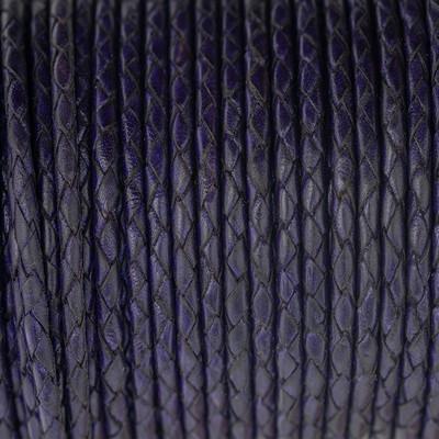 Lederband rund geflochten, 100cm, 3mm, VEILCHENBLAU