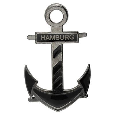 """Anhänger XL, Anker """"HAMBURG"""", 58x36mm, Schwarz"""