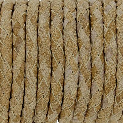 Lederband rund geflochten, 100cm, 5mm, BEIGECOGNAC meliert