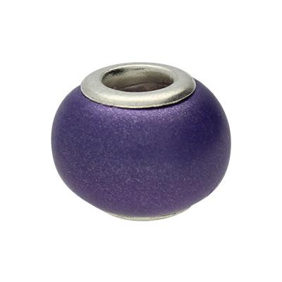 Großlochperle, innen 4,5mm, 13x10mm, lila