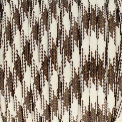 Gewachstes Schmuckband aus Baumwolle, 100cm, 3mm, BRAUN-WEISS