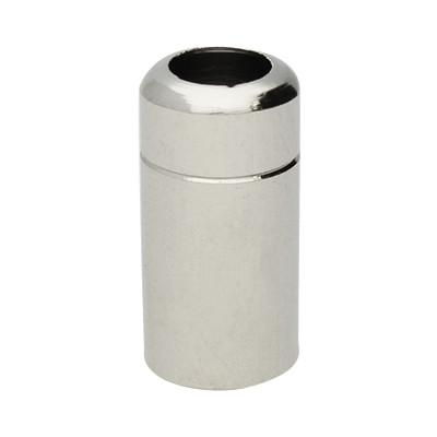 Schraub-Endkappe für Schlüssel- und Kaputzenbänder, 20x8mm, Löcher 5mm und 1,5mm, Metall, silberfarb