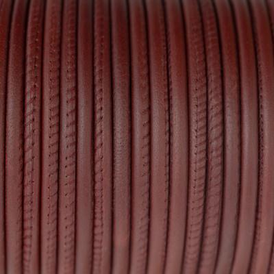 Nappaleder rund gesäumt, 100cm, 4mm, KAMINROT