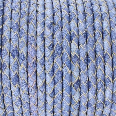 Lederband, rund geflochten, 100cm, 5mm, BLAU meliert