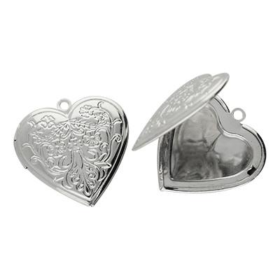 Medaillon-Anhänger, Herz (zum Öffnen), 29x7x2mm, silberfarben, Metall