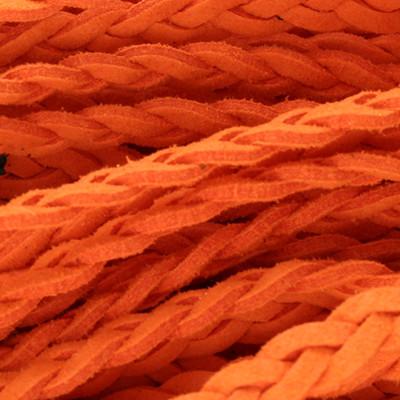 Flachriemen, Veloursleder, geflochten, 6x2mm, Orange