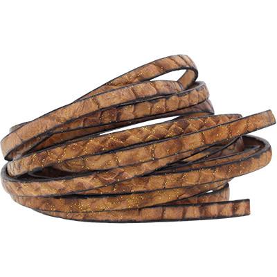 Flachriemen Rindsleder, 100cm, 5mm, KARAMELL Schlangenmuster