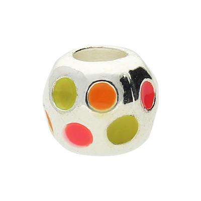 """Großlochperle """"Neon Dots"""", innen 4,5mm, 9,5x8,5mm, neon-multicolor, Metall"""