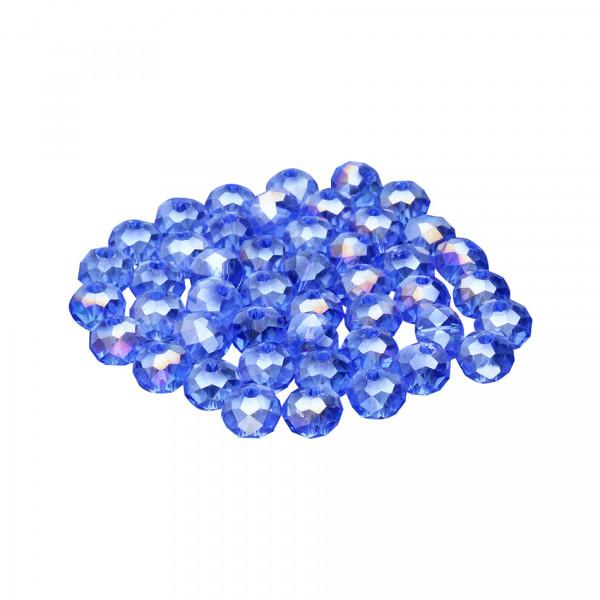 Glasperlen (5 Stück), innen 1mm, 6x5mm, faciert, AZURBLAU