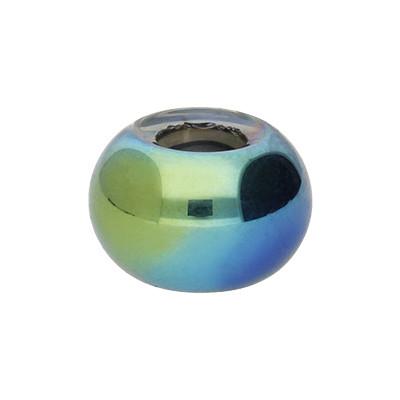 Großlochperle, innen 5mm, 15x10mm, oliv, Glas