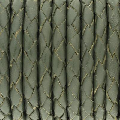 Lederband rund geflochten, 100cm, 4mm, MOOSGRÜN hell