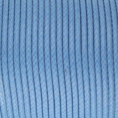 Gewachstes Schmuckband aus Baumwolle, 100cm, 2mm breit, hellblau