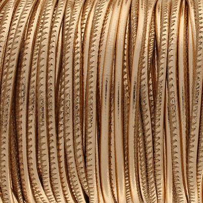 Premium Nappaleder rund gesäumt, 100cm, 4mm, METALLIC ROSÉ GOLD